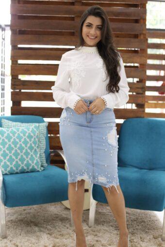 Saia Jeans detalhe frente - Aquila Tauheny Store - Moda evangélica