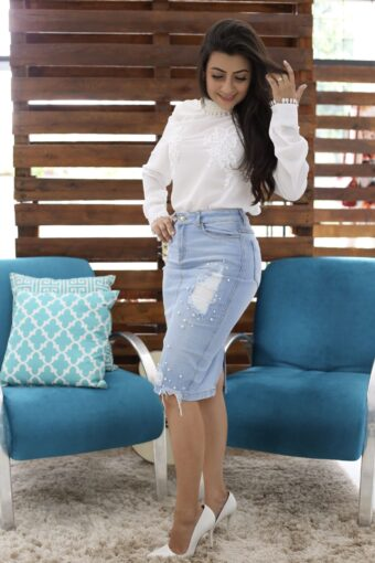Saia Jeans detalhe pérola - Moda evangélica - Áquila Tauheny Store