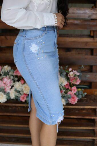 Saia jeans detalhe lateral - Moda Evangélica