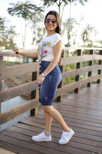 Saia Jeans Bárbara em Aquila Tauheny Store   Moda Evangélica