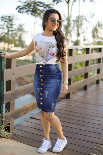 Saia Jeans Bárbara em Aquila Tauheny Store | Moda Evangélica