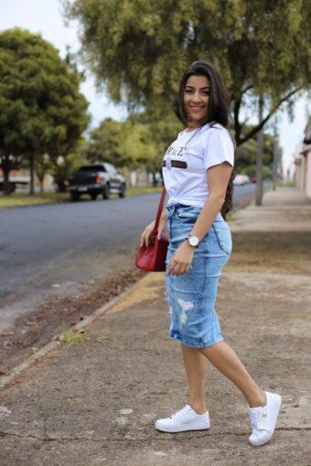 Saia Jeans Midi Ingrid em Áquila Tauheny Store | Moda Evangélica