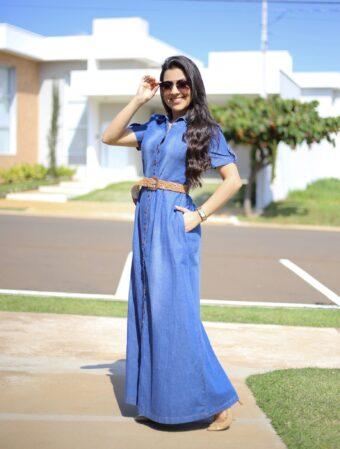 Vestido Jeans Longo Adriana em Áquila Tauheny Store | Moda Evangélica