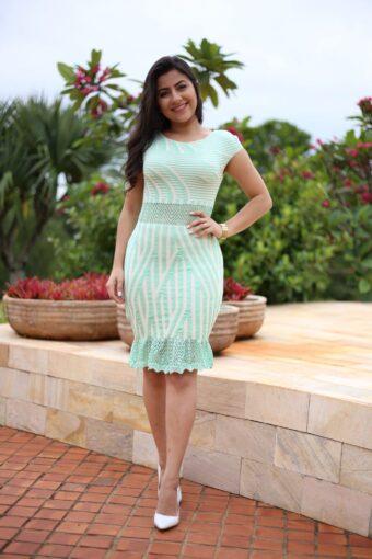 Vestido Tricot - Aquila Tauheny Store- Moda Evangelica