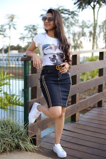 Saia Jeans Priscilla em Áquila Tauheny Store | Moda Evangélica
