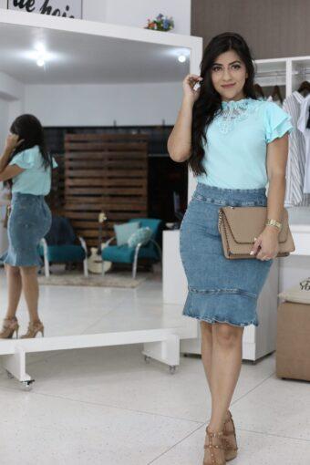 Saia Jeans Tamara em Áquila Tauheny Store | Moda Evangélica
