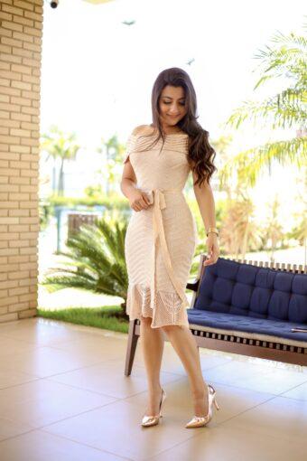 Vestido Tricot Bege - Aquila Tauheny Store