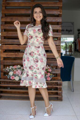 Vestido Floral Tubinho Esther em Áquila Tauheny Store | Moda Evangélica