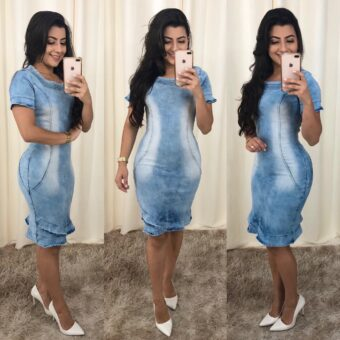Vestido Jeans Leisy em Áquila Tauheny Store   Moda Evangélica