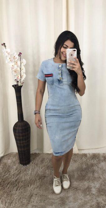Vestido Tubinho Jeans em Áquila Tauheny Store | Moda Evangélica