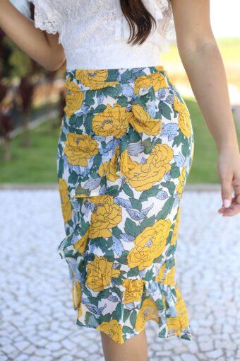 Saia Crepe Floral em Áquila Tauheny Store | Moda Evangélica