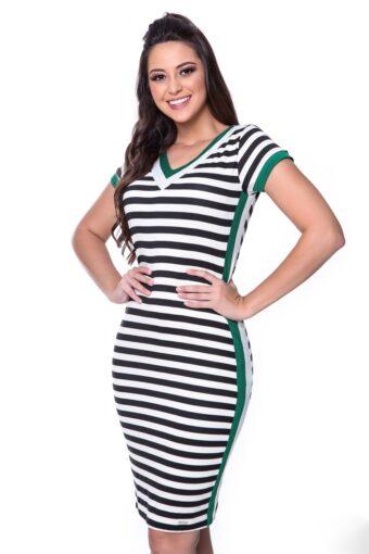 Vestido Hapuk Malha Listrada em Áquila Tauheny Store | Moda Evangélica