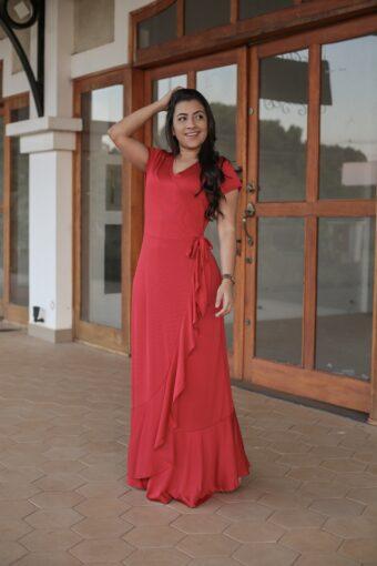 Vestido Longo Vermelho em Áquila Tauheny Store | Moda Evangélica