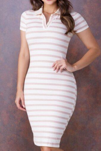 Vestido Malha Canelada Gola Polo - Tatá Martello em Áquila Tauheny Store | Moda Evangélica