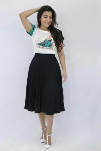 Saia Midi Plissada Black em Áquila Tauheny Store | Moda Evangélica