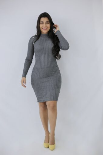 Vestido Malha Canelada Gray em Áquila Tauheny Store | Moda Evangélica