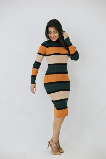 Vestido Tricot Listrado Laranja em Áquila Tauheny Store | Moda Evangélica