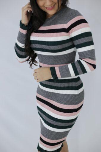 Vestido Tricot Listras Rose em Áquila Tauheny Store | Moda Evangélica