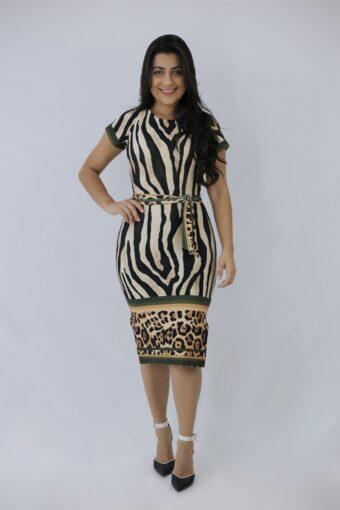 Vestido Tubinho Onça em Áquila Tauheny Store | Moda Evangélica