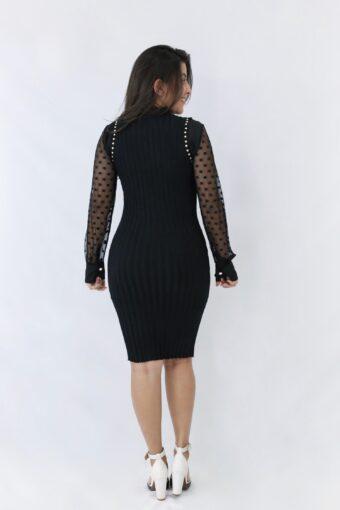 Vestido Tubinho Preto Canelado em Áquila Tauheny Store | Moda Evangélica