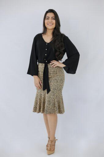 Blusa Preta Amarração em Áquila Tauheny Store | Moda Evangélica
