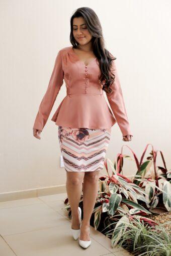 Blusa Peplum e Saia Secretária em Áquila Tauheny Store | Moda Evangélica