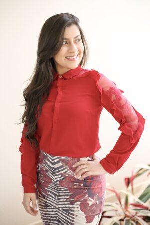 Camisa Vermelha Manga Longa