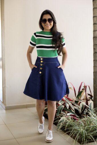 Saia Jeans Godê em Áquila Tauheny Store | Moda Evangélica
