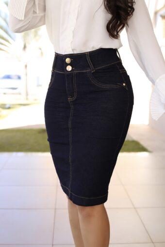 Saia Jeans Secretária em Áquila Tauheny Store | Moda Evangélica