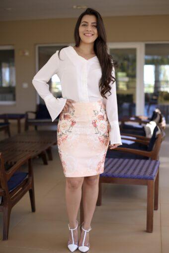 Saia Secretária Estampada em Áquila Tauheny Store | Moda Evangélica