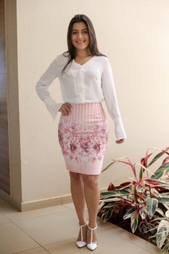 Saia Secretária Floral em Áquila Tauheny Store | Moda Evangélica