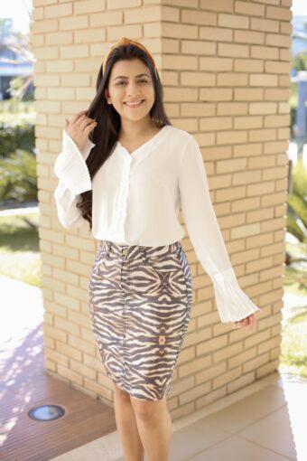 Saia Secretária Onça em Áquila Tauheny Store | Moda Evangélica