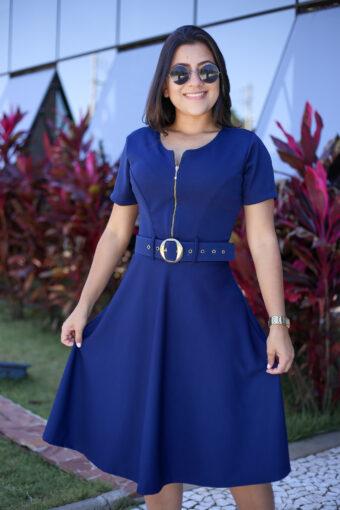 Vestido Godê Azul Marinho em Áquila Tauheny Store | Moda Evangélica