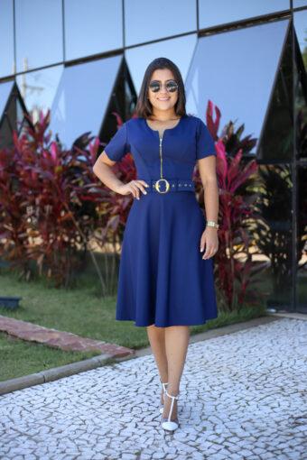 Vestido Godê Azul Marinho em Áquila Tauheny Store   Moda Evangélica