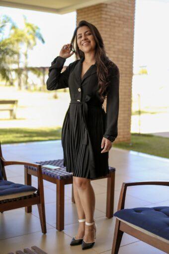 Vestido Plissado Preto em Áquila Tauheny Store | Moda Evangélica