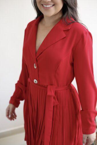 Vestido Plissado Vermelho em Áquila Tauheny Store | Moda Evangélica