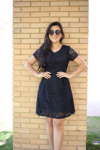 Vestido Renda Preto em Áquila Tauheny Store | Moda Evangélica