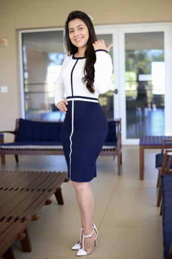 Vestido Tricot Azul Listras em Áquila Tauheny Store | Moda Evangélica