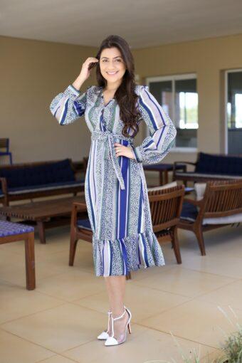 Vestido Azul Midi Babado em Áquila Tauheny Store | Moda Evangélica