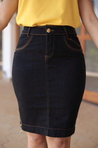 Saia Jeans Preta Zíper em Áquila Tauheny Store | Moda Evangélica