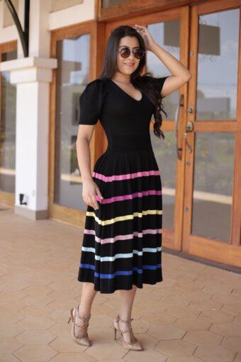 Vestido Godê Tricot Listrado em Áquila Tauheny Store | Moda Evangélica