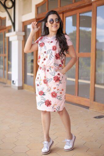 Vestido Malha Floral Hadaza em Áquila Tauheny Store | Moda Evangélica