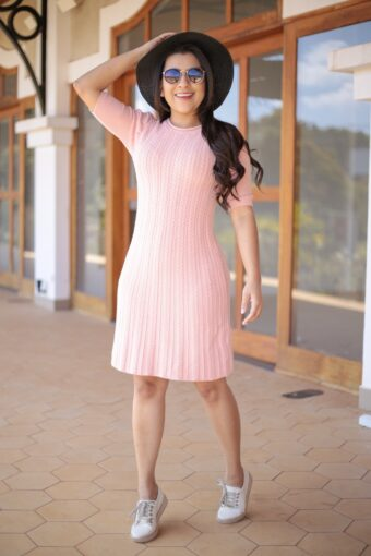 Vestido Tricot Rosê em Áquila Tauheny Store | Moda Evangélica