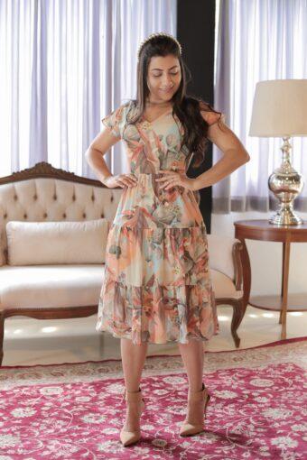 Vestido Midi Floral em Áquila Tauheny Store | Moda Evangélica