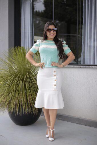 Blusa Tricot Mint Off White em Áquila Tauheny Store | Moda Evangélica