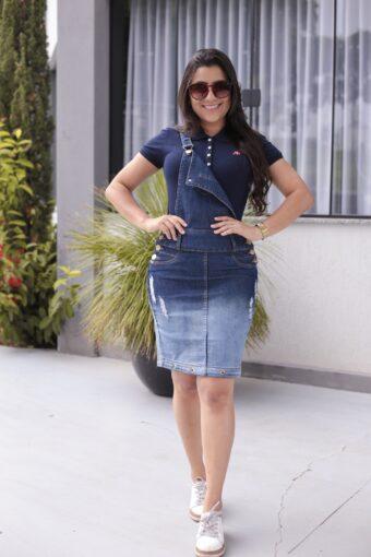 Jardineira Jeans em Áquila Tauheny Store   Moda Evangélica