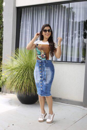 Saia Jeans Botão Cinto em Áquila Tauheny Store | Moda Evangélica