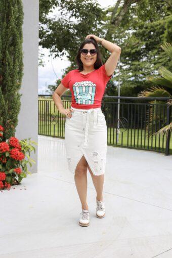 Saia Jeans Clara Destroyd em Áquila Tauheny Store | Moda Evangélica