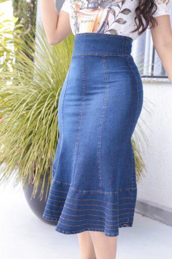 Saia Jeans Midi em Áquila Tauheny Store | Moda Evangélica