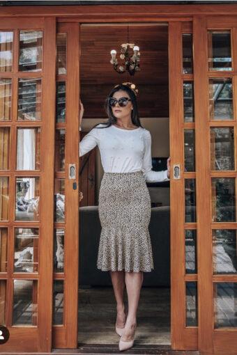 Saia Midi Babado Jany Pim | Áquila Tauheny Store | Moda Evangélica